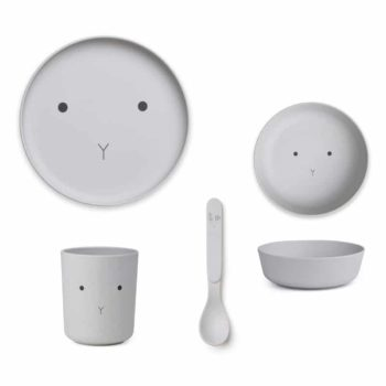 Geschirr Set Rabbit - Bamboo grau